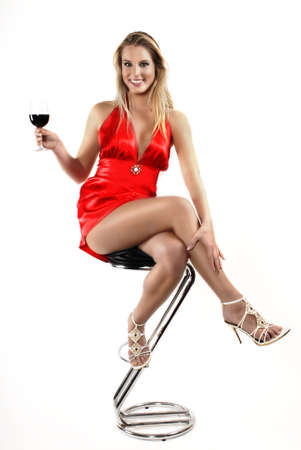 sexy girl sitting: Red red wine Stock Photo
