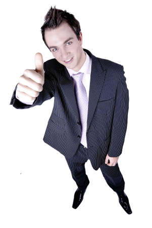 Businessman holds his hand and thumb up indicating successs, approval, satisfaction.  Stock Photo