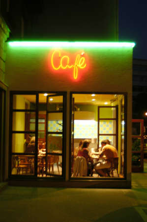 Cafeteria night view from outside with visible neon sign Cafe. Stock Photo - 1397136
