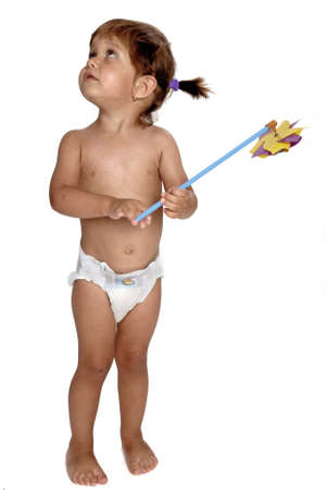 nappies: Picture of girl in nappies playing with pinwheel