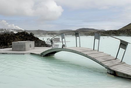 eruptive: The Blue Lagoon, a geothermal bath resort in Iceland.