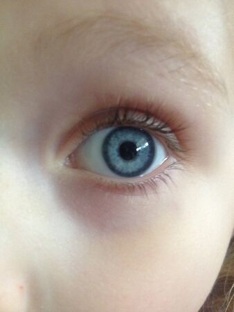 Close up of a childs blue eye
