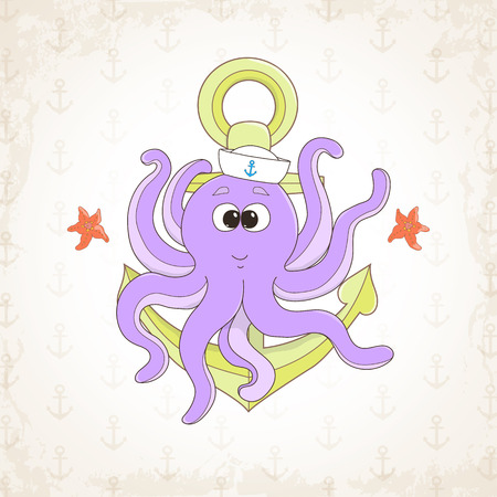childish: childish octopus, sea themed illustration.