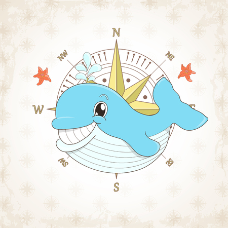 themed: childish whale, sea themed illustration. Illustration