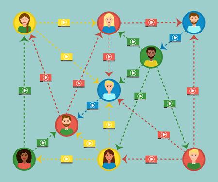 video sharing: video sharing concept of world global communication. Flat design social media, online marketing. Illustration