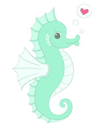personage: Vector seahorse with heart, in love illustration. Childish smile seahorse. Pretty seahorse personage design. Cute seahorse T-shirt Graphics. Seahorse baby shower invitation. Funny Valentines card.