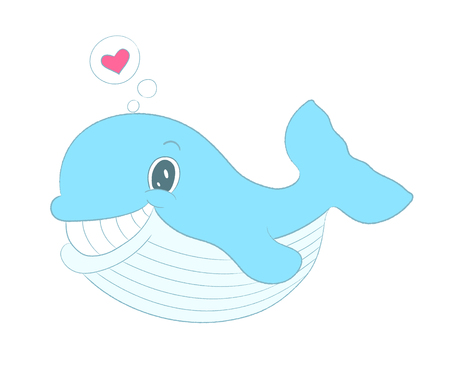 whale baby: Vector whale with heart, sea themed illustration. Childish whale. Baby smile whale. Pretty whale personage design. Cute whale T-shirt Graphics. Whale baby shower invitation. Funny Valentines card.