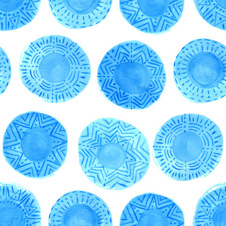 cerulean: Watercolor blue circles pattern on white background. Hand painted tribal design with different ornaments. Bright blue ornate ethnic seamless texture.Hand painted cerulean rustic elements. Mixed media.