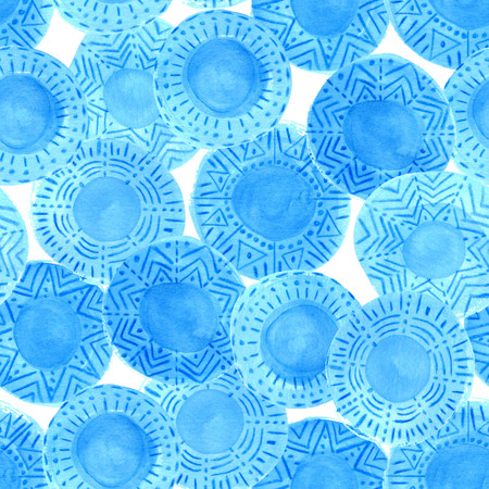 cerulean: Watercolor blue circles pattern on white background. Hand painted ethnic design with different ornaments. Bright blue ornate tribal seamless texture. Hand painted cerulean rustic spots elements. Stock Photo