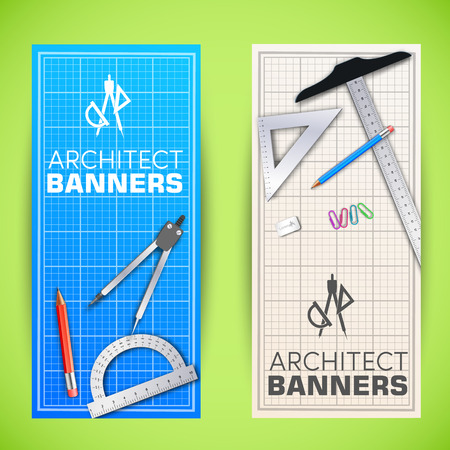 drafting tools: Architectural background. Vector Illustration, eps10, contains tamplate for your design