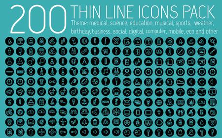 banco mundial: colección de iconos pictograma líneas finas establecido concepto de fondo. Diseño de la plantilla de vectores para la web y de aplicaciones móviles Vectores