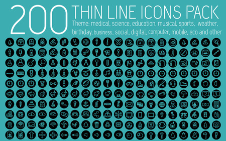 collection thin lines pictogram icon set concept background. Vector template design for web and mobile application