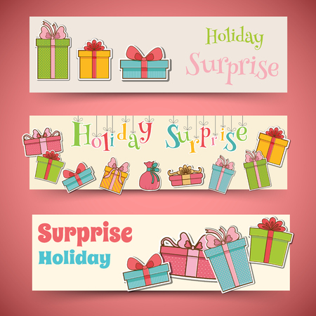 birthday present: colorful vintage gift postcard banners concept. Vector illustration design