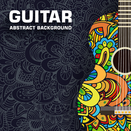 Abstract retro music guitar on the background of the ornament. Vector illustration concept design Vettoriali