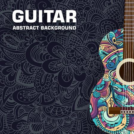 抽象的なレトロな音楽ギターの飾りの背景。ベクトル イラスト コンセプト デザイン  イラスト・ベクター素材