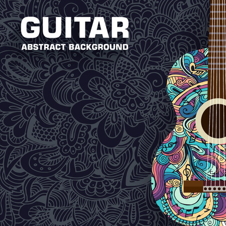 Abstract retro music guitar on the background of the ornament. Vector illustration concept design 일러스트
