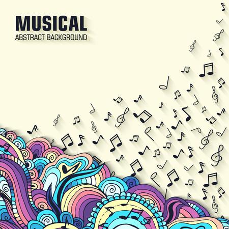 notas musica: Abstracto de la guitarra de la m�sica retro en el fondo del ornamento. Dise�o de ilustraci�n vectorial concepto Vectores