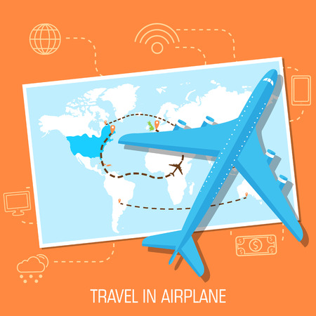 route map: flat travel with airplane illustration design concept background. eps10 vector