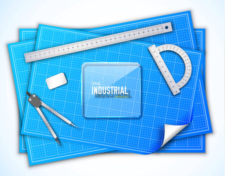 outline blue: Architectural background. Vector Illustration, eps10, contains tamplate for your design