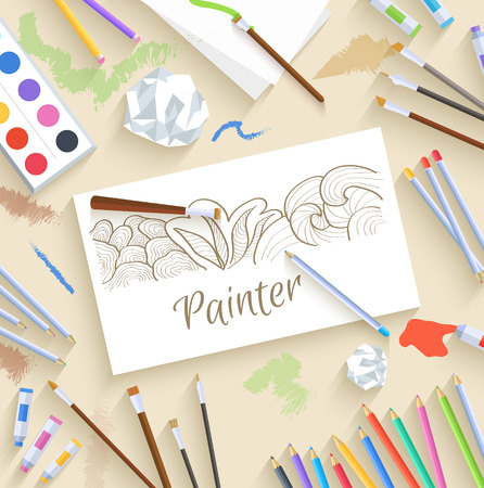 art supplies: flat art painter workshop with paint supplies equipment tools background. Vector illustration design