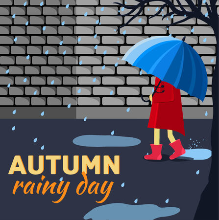 tranquil scene on urban scene: Girl and boy with umbrella in a autumn raining day background concept. Vector illustration design