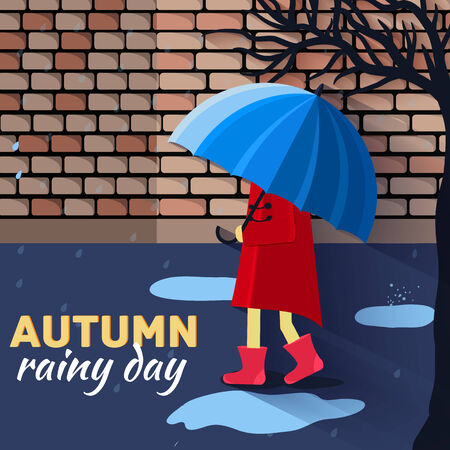 rain coat: Girl and boy with umbrella in a autumn raining day background concept. Vector illustration design