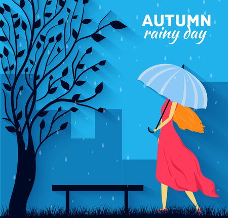 couple in rain: Girl and boy with umbrella in a autumn raining day background concept. Vector illustration design