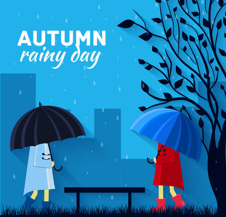 monsoon clouds: Girl and boy with umbrella in a autumn raining day background concept. Vector illustration design