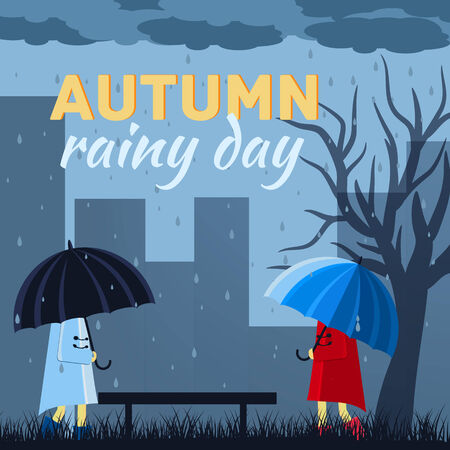 raining background: Girl and boy with umbrella in a autumn raining day background concept. Vector illustration design