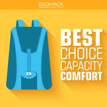 Flat schoolbag on the background with the slogan. Vector illustration design Illustration