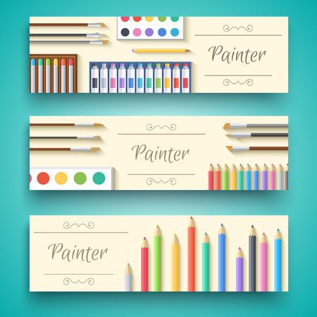 artboard: flat art painter workshop with paint supplies equipment tools background. Vector illustration design