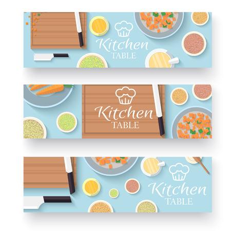 vlakke keukentafel voor het koken in huis banners vector illustratie ontwerpconcept