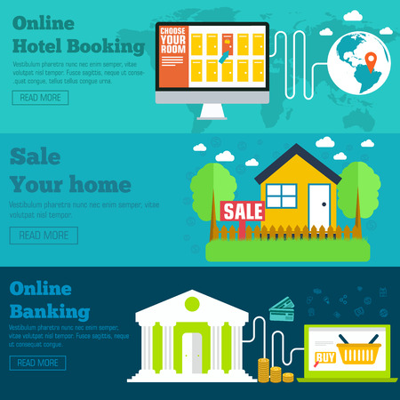 house sale: flat set of social business travel, online banking, parking and sale house banners design. Vector backgrounds concepts
