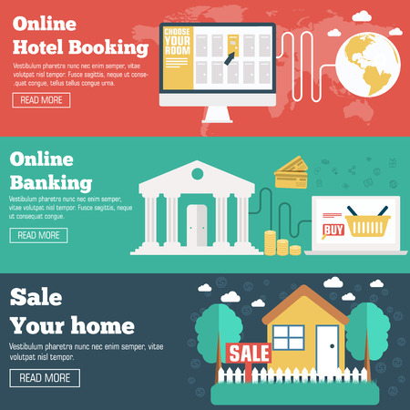 hotel booking: flat set of social business travel, online banking, parking and sale house banners design. Vector backgrounds concepts