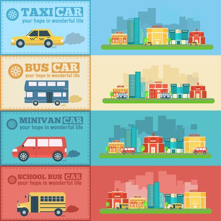 traffic police: Flat city cars infographic banners traffic background concept. Tamplate for mobile and web design Illustration