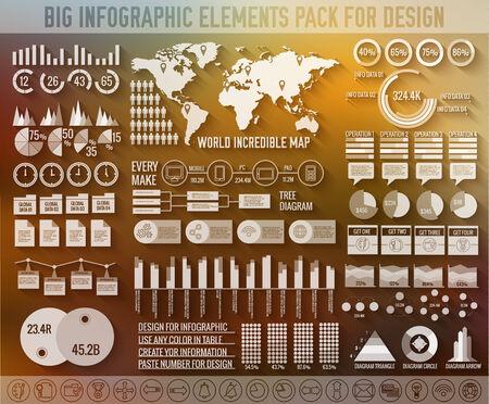 big business: elementos infogr�ficos planas grandes empresas establecidas para el dise�o sobre fondo borroso. Ilustraci�n vectorial concepto