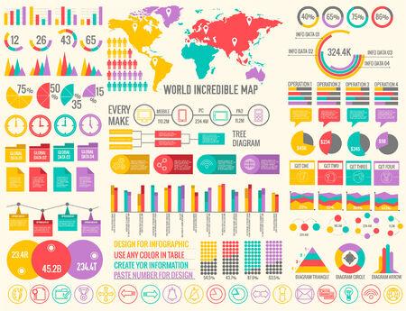 big business flat infographic elements set for design on blurred background. Vector illustration concept Vector
