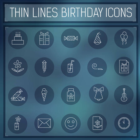 thin line happy birthday icons set concept on a blurred background. Vector illustration.  Colorful template for you design, web and mobile applications. Vector