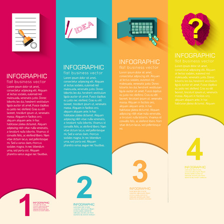 interface scheme: Business flat infographic template with text fields. Vector Illustration Illustration