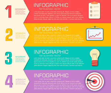 list: Business flat infographic template with text fields. Vector Illustration Illustration