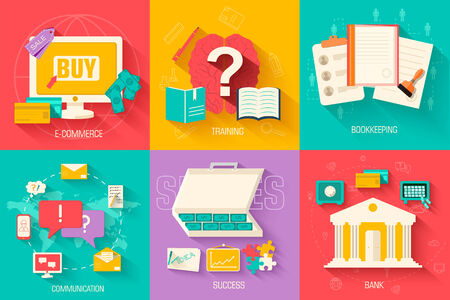 shopping questions: set of social business life icons design. Vector illustrations backgrounds in vintage style concepts Illustration