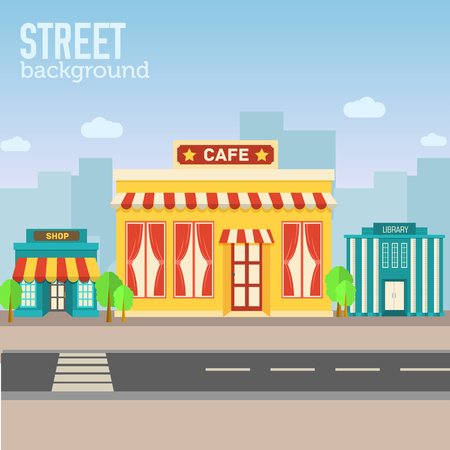 italian culture: cafe building in city space with road on flat syle background co Illustration