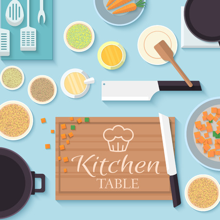 meat counter: flat kitchen table for cooking in house vector illustration desi