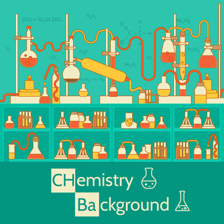 test equipment: Retro experiments in a chemistry laboratory background concept.