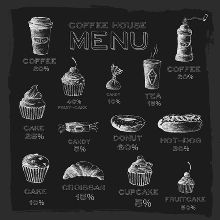 baking cake: Sketch set drawn stylized hand painted background concept. cofee