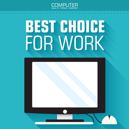 display size: Flat computer on the background with the slogan. Vector illustra