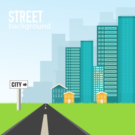 sity: Flat colorful vector sity buildings set. Icons background concep Illustration