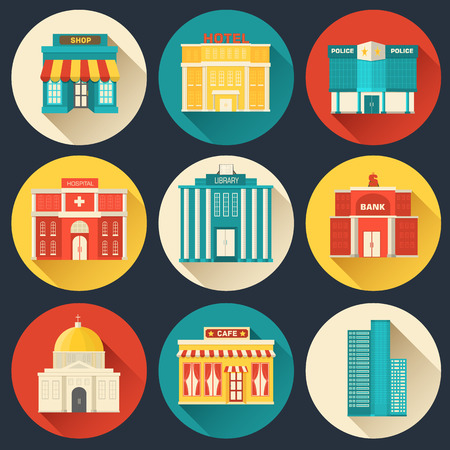 Flat colorful vector sity buildings set. Icons background concep Vector