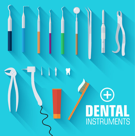 stomatology icon: flat dental instruments set design concept background. Vector il