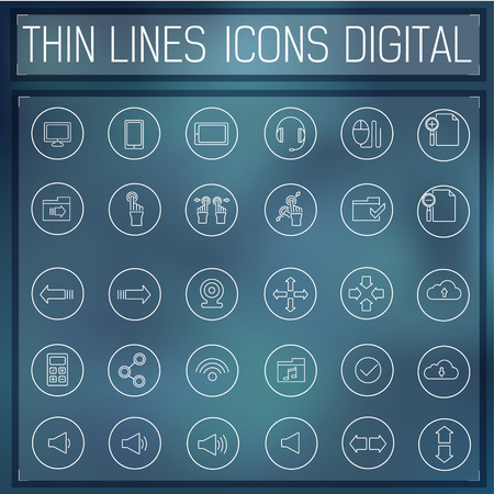 digitized: delgada l�nea gadgets digitales establecer iconos concepto. Ilustraci�n del vector.